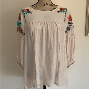 Gibson Latimer Small Boho Peasant Floral Top